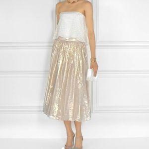 Alice + Olivia Midi Length Pleated Skirt Gold